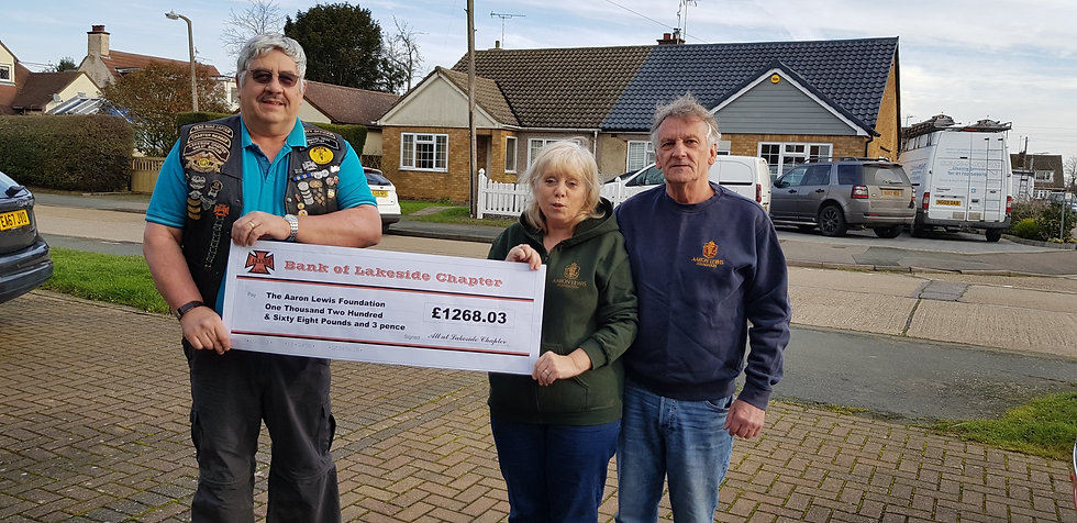 Aaron Lewis Cheque presentation for 2020