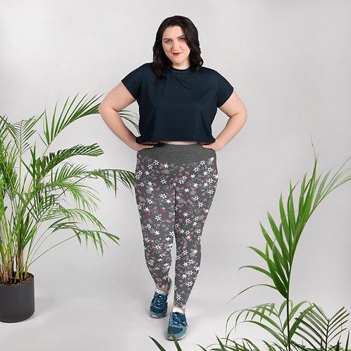Floral Charcoal Ladies Plus Size Leggings
