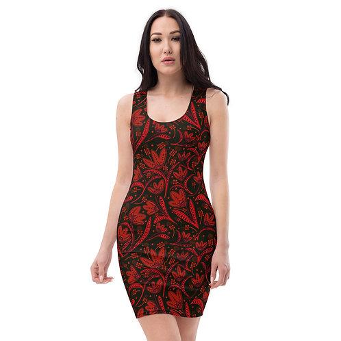 Goth Crimson Paisley Gorgeous Bandage Dress Days