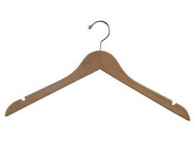 "17"" WOOD DRESS HANGER (VARIOUS COLOURS)"