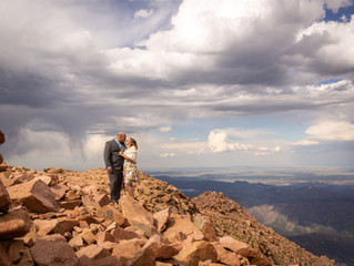 Surprise engagement photoshoot tips at the summit of Pikes Peak