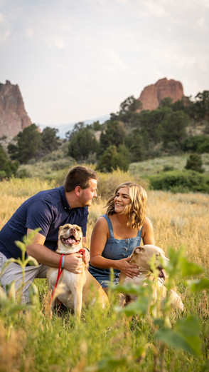 Surprise engagement session at Garden of The Gods with pets