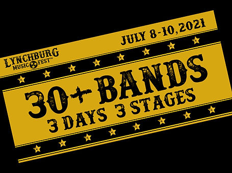 Announcement of 30+ artists and bands on three stages for the Lynchburg Music Festival.