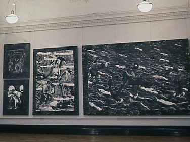 Pictures of The Captain's Story beside the Edwin Long Room at the Russell-Cotes Art Gallery and Museum, Bournemouth, U.K., 2001