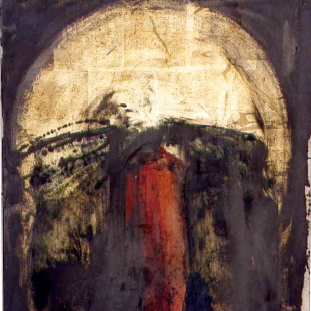 graphite powder, gold powder, Ooil on canvas 1993 Private Collection