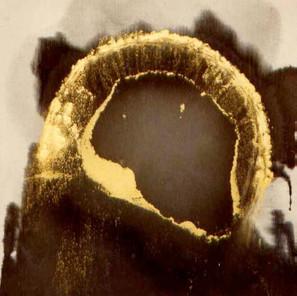 graphite powder, gold powder, canvas on board. 1993. Private Collection