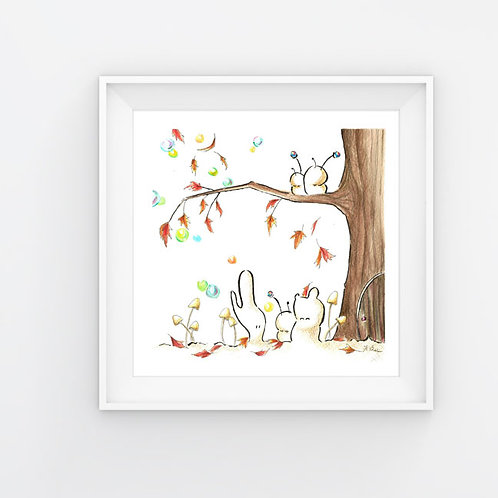 Cubabas in Autumn -8.5x8.5 Art Print