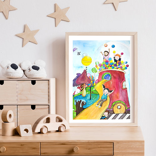 A Day In A Candyland - Art Print