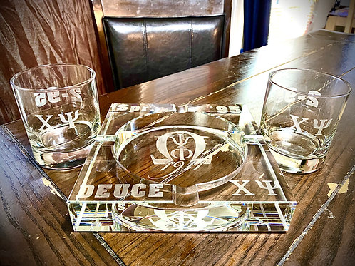 Crystal Glass Cigar Ashtray Set