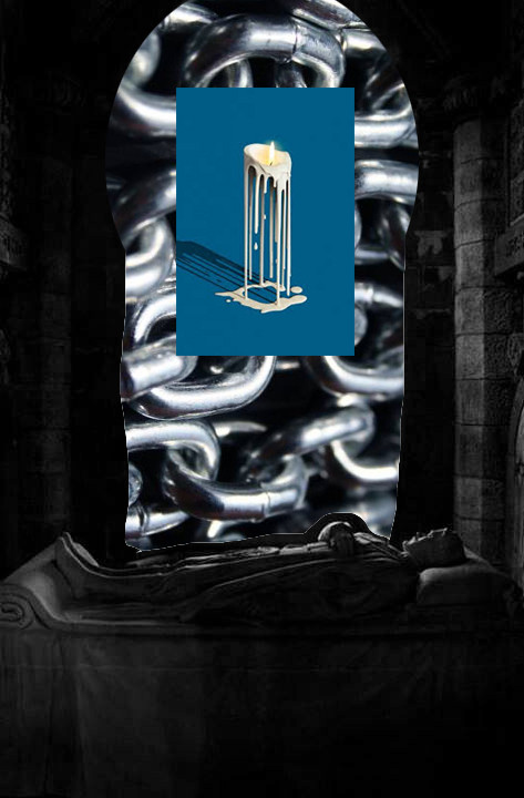 Eva Sanglante window to digital collage candle chain religious imagery