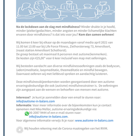 Mindfulness bij autisme  start weer medio april 2021!