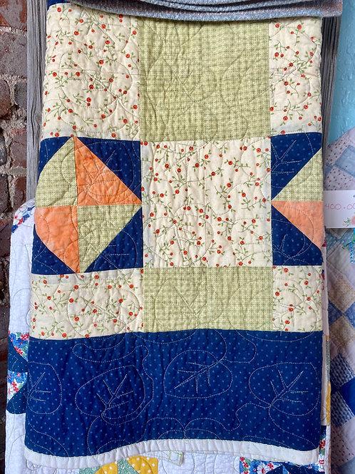 Blue Floral Leaf Quilt