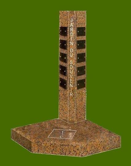 Stèle du souvenir avec dispersoir  pour espace cinéraire réduit