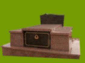 Modèle R3AQBSTN  Granit Rose de la Clarté  Porte et stèle Noir Royal