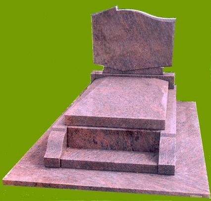 Modèle 175  Granit Rose Dalva  parpaing avec doucine  Tombale queue de billard