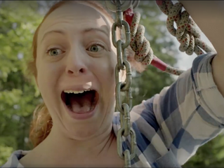Holly Campbell on the Zip Wire for Orange Commercial
