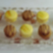 Mango macarons with passion fruit gel an