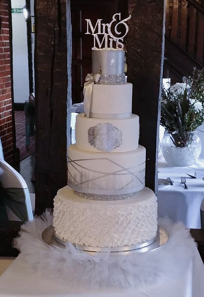 Silver White wedding cake set up at Mary Green Manor