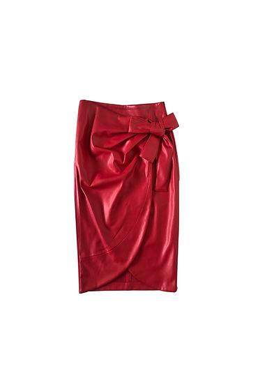 Falda cuero rojo