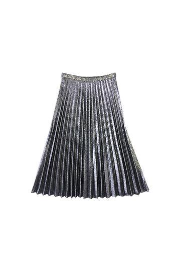 Falda plateada plizada