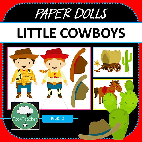 Paper Dolls COWBOY WESTERN Imaginative Play