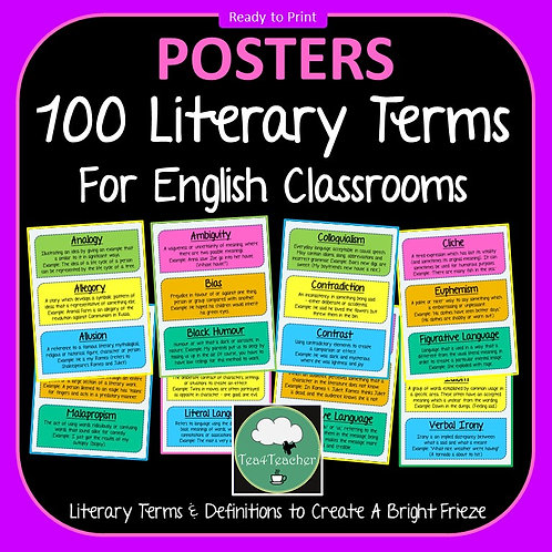 Literary Terms & Vocabulary Frieze for English Classrooms x 100