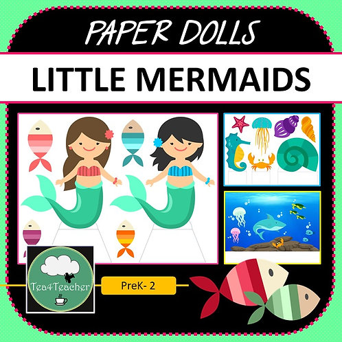 Paper Dolls LITTLE MERMAIDS Imaginative Play