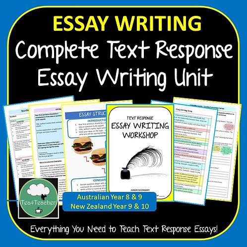 Text Response Essay Writing Unit