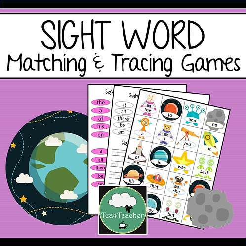 SIGHT WORD Activity SPACE Matching and Tracing SIGHT WORDS