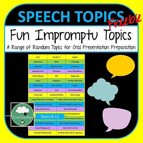 Impromptu Speech Topics to Improve Oral Presentation Skills