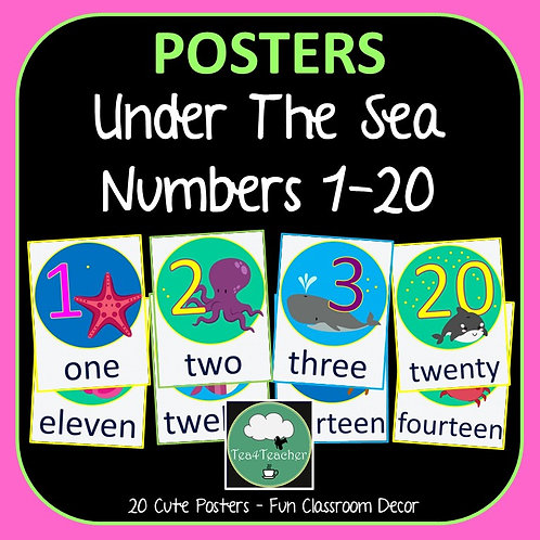 Number Posters OCEAN Counting 1-20