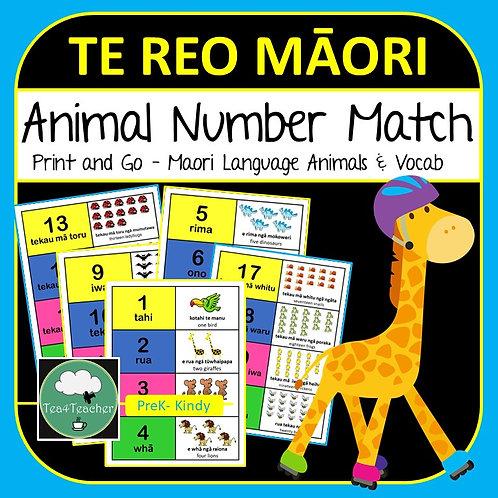 Te Reo Māori NUMBER MATCH Game Animals 1-20