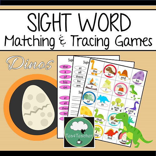 SIGHT WORDS Matching and Tracing Games DINOSAURS