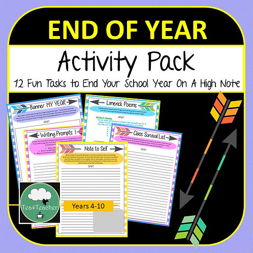 End of Year Writing & Activity Pack - Fun End of Year Tasks for Reflection & Fun