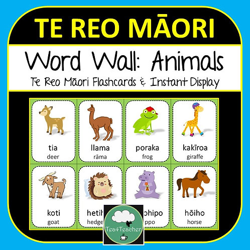 TE REO MĀORI Animal WORD WALL and FLASHCARDS
