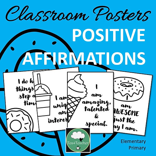 Positive Affirmation Posters for Food Elementary Primary Growth Mindset