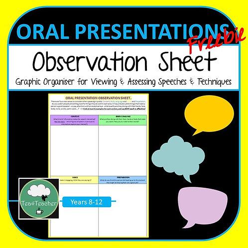 Oral Presentation Observation Worksheet