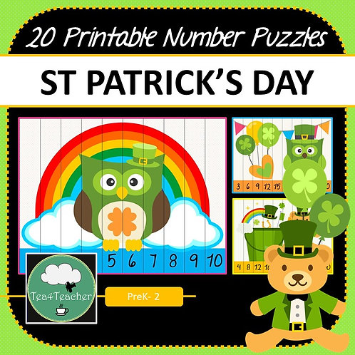 St Patrick's Day Number Puzzles + Multiplication