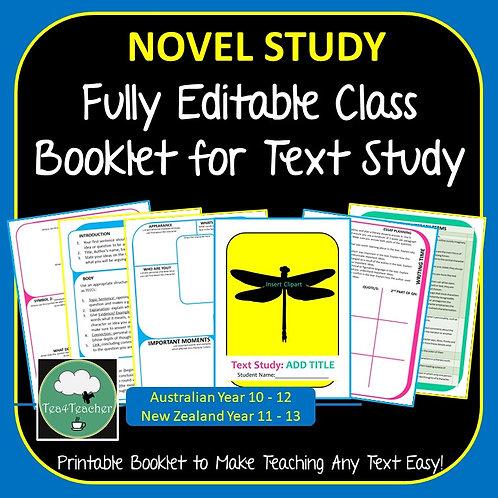 ANY NOVEL TEXT STUDY Editable Booklet Suits Secondary Novel or Short Text