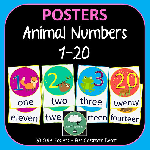 Number Posters ANIMALS Counting 1-20