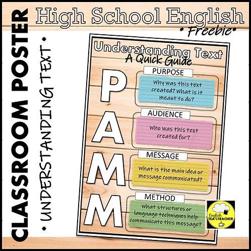 Understanding Texts ENGLISH CLASSROOM POSTER Freebie