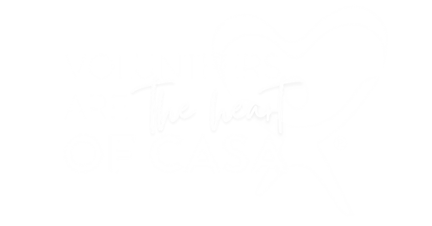 """Text that reads """"volunteers are the heart of CASA"""""""
