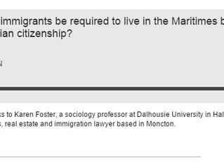 Should some immigrants be required to live in the Maritimes before they're granted Candian citiz