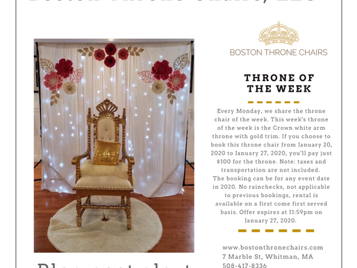 $100 Throne of the week- Jan 20-Jan 27
