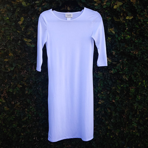 midi slip with sleeves WHITE