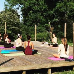Outdoor yoga deck. Yoga Teacher Training France