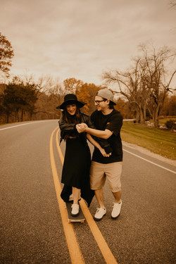 fall skateboarding couples photo session