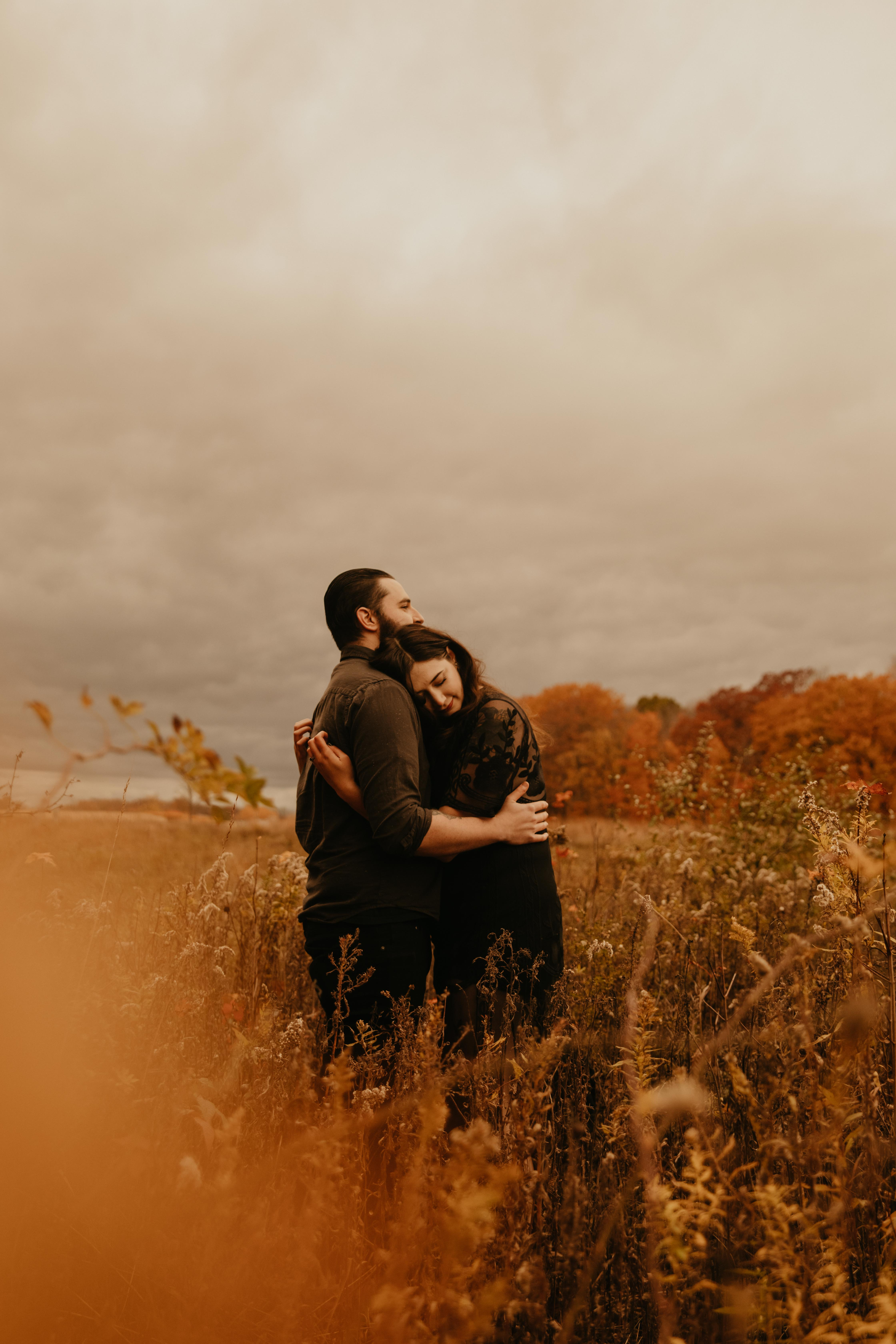 moody october engagement photo session