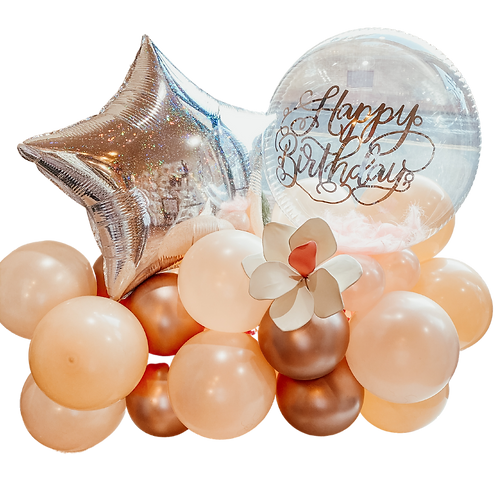 Customizable Blush and Silver Balloons Bouquet