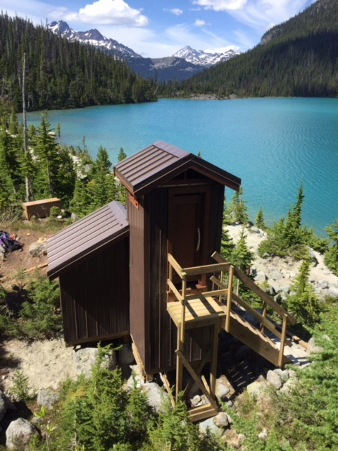Joffre Lakes, BC Parks. One stall year round use Waste Away
